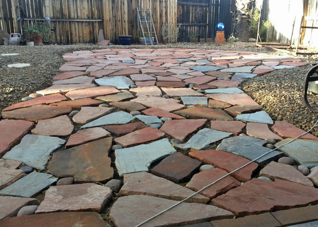 Flagstone Patio Singles Of Several Colors Combined To Create This Backyard  Patio Pathway