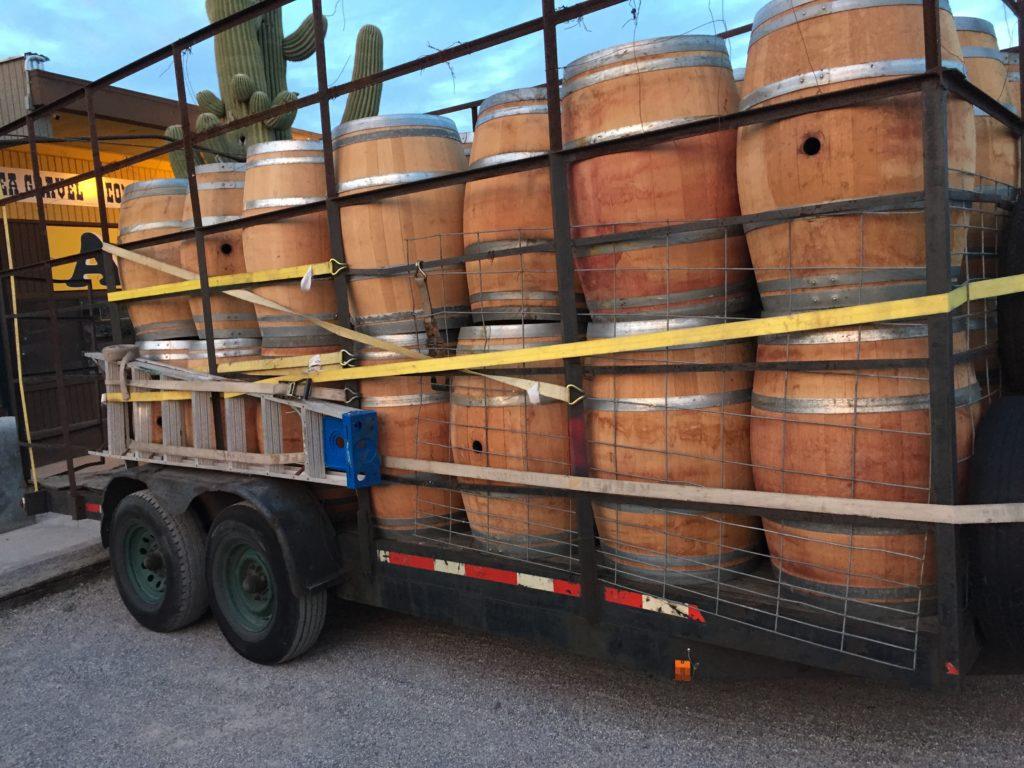 truckload of Wine Barrels