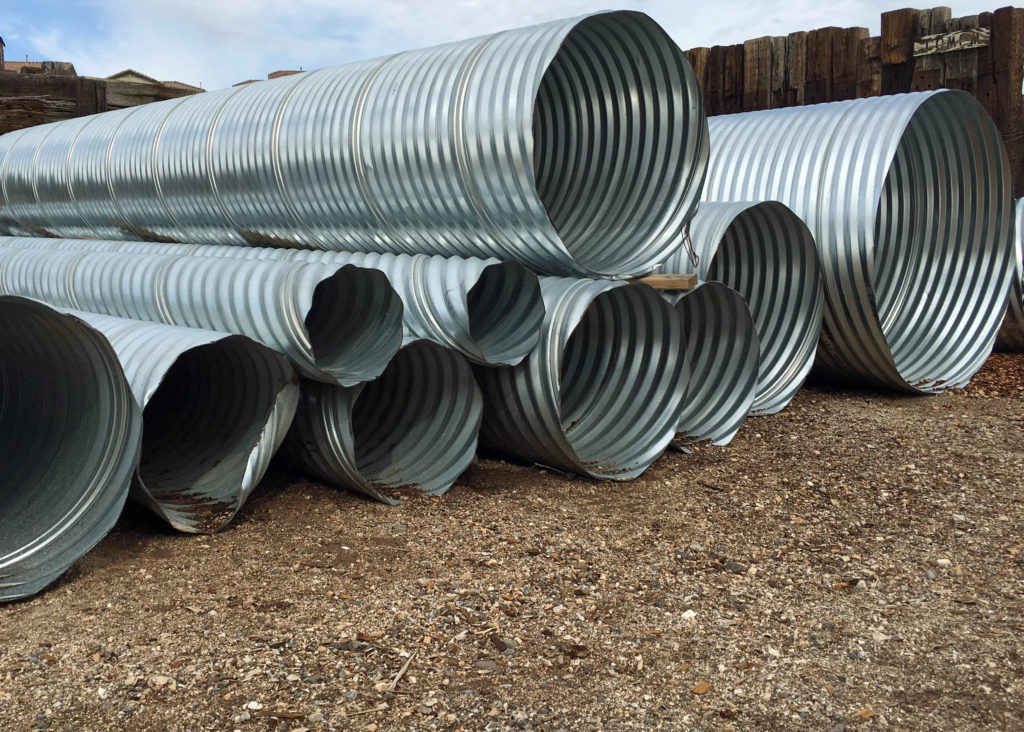 Culverts come in 20 foot lengths. Shown here are the various diameters sizes